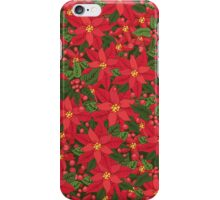 Red poinsettia Christmas pattern iPhone Case/Skin