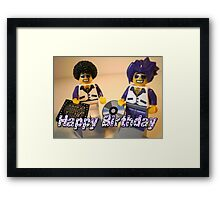 Happy Birthday Greeting Card DJ Clubbing Tru & his Dad Disco Stu (with CD and Record) Minifigs Framed Print