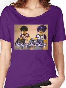 Happy Birthday Greeting Card DJ Clubbing Tru & his Dad Disco Stu (with CD and Record) Minifigs Women's Relaxed Fit T-Shirt