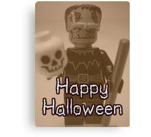 Happy Halloween Frankenstein's Monster Custom Minifig Canvas Print