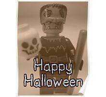 Happy Halloween Frankenstein's Monster Custom Minifig Poster