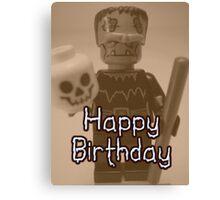 Happy Birthday Frankensteins Monster Custom Minifig Canvas Print