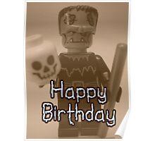 Happy Birthday Frankensteins Monster Custom Minifig Poster