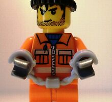 City Convict Prisoner Minifig Minifigure with Handcuffs by Chillee
