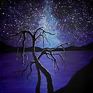 lake at night - painting by Perggals© - Stacey Turner