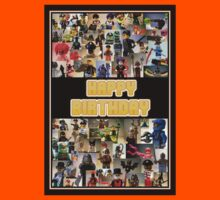 Happy Birthday Greeting Card, Montage of Custom Minifigs Kids Clothes