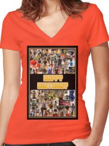 Happy Birthday Greeting Card, Montage of Custom Minifigs Women's Fitted V-Neck T-Shirt