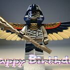 Happy Birthday Greeting Card, with Flying Mummy Minifig (with Custom Staff) by Customize My Minifig