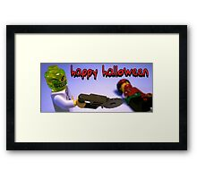 """Happy Halloween"" Custom Halloween Dr Toxic Minifigure Framed Print"