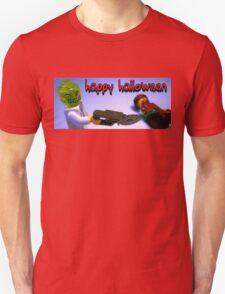 """Happy Halloween"" Custom Halloween Dr Toxic Minifigure Unisex T-Shirt"