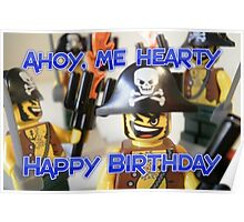 """Happy Birthday"" Pirate Captain Birthday Greeting Card Poster"