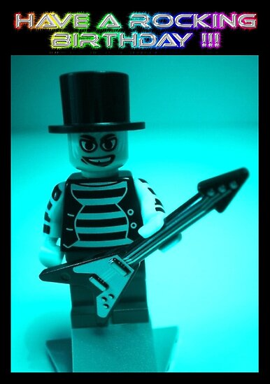 """Have a Rocking Birthday"" Custom Emo Guitarist Birthday Greeting Card by Customize My Minifig"