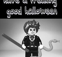 """Have a Freaking Good Halloween"" Custom Evil Magician Greeting Card by Customize My Minifig"