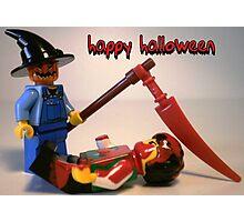 """""""Happy Halloween"""" Custom Halloween Scarecrow Minifig Photographic Print"""