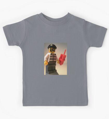Convict Prisoner City Minifigure with Dynamite Sticks Kids Tee