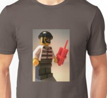 Convict Prisoner City Minifigure with Dynamite Sticks Unisex T-Shirt
