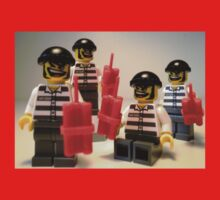 Convict Prisoner City Minifigure with Dynamite Sticks Kids Tee