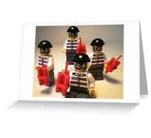 Convict Prisoner City Minifigure with Dynamite Sticks Greeting Card