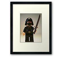 Black Japanese Samurai Warrior Minifigure / TMNT Shredder Custom Minifig Framed Print