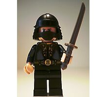 Black Japanese Samurai Warrior Minifigure / TMNT Shredder Custom Minifig Photographic Print
