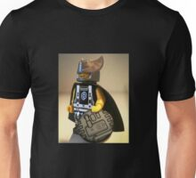 Captain Vortex in Black & Silver Costume and Cape Unisex T-Shirt