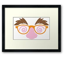April fools day mask disguise with big nose mustache and twirly eyes Framed Print