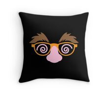 April fools day mask disguise with big nose mustache and twirly eyes Throw Pillow