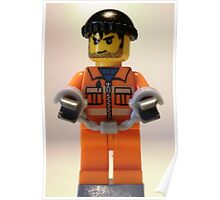 Convict Prisoner Minifig Minifigure with Handcuffs Poster