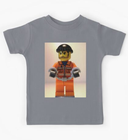 Convict Prisoner Minifig Minifigure with Handcuffs Kids Tee