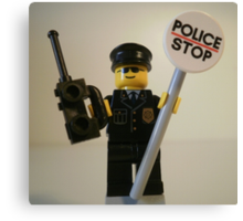 Classic Police Patrol Man Minifigure with Police Stop Sign Canvas Print