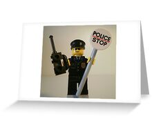 Classic Police Patrol Man Minifigure with Police Stop Sign Greeting Card