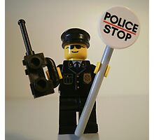 Classic Police Patrol Man Minifigure with Police Stop Sign Photographic Print