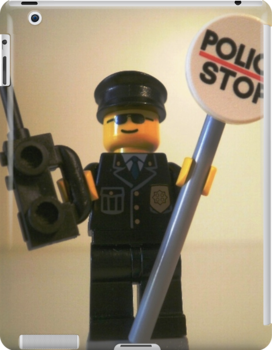 Classic Police Patrol Man Minifigure with Police Stop Sign, by 'Customize My Minifig' by Chillee