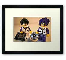 DJ Clubbing Tru and his Dad Disco Stu (with CD and Record) Minifigs, by 'Customize My Minifig' Framed Print