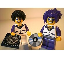 DJ Clubbing Tru and his Dad Disco Stu (with CD and Record) Minifigs, by 'Customize My Minifig' Photographic Print