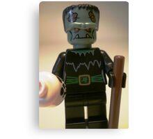 Frankensteins Monster Custom Minifigure with Skull Canvas Print