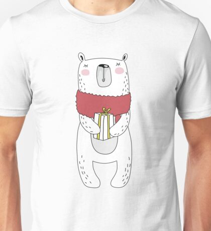 Christmas bear with gift Unisex T-Shirt