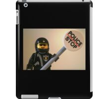 Classic Police Motorcycle Man Cop Minifigure & Police Stop Sign iPad Case/Skin