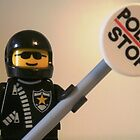 Classic Police Motorcycle Man Cop Minifigure & Police Stop Sign by Chillee