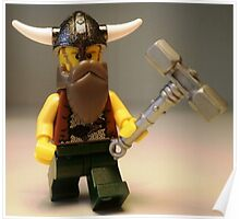 Thor Minifig Viking Custom Minifigure with Custom Beard  Poster