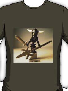 Black Skeleton Custom Minifigure with Viking Helmet and Warrior Weapons T-Shirt