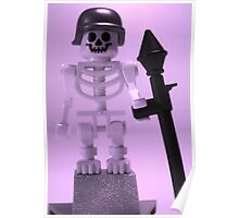 Skeleton Zombie Soldier with Custom Minifigure Helmet and baooka Poster