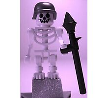 Skeleton Zombie Soldier with Custom Minifigure Helmet and baooka Photographic Print