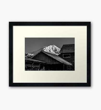 Over the Top Mt. Shasta in black and white Framed Print