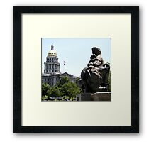 Denver Capitol Building & Fountain Framed Print