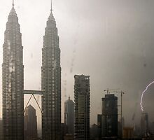 Petronas Towers - Lightning Strike by wyllys