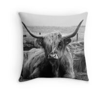 Highland Coo on the Island of Tiree Throw Pillow