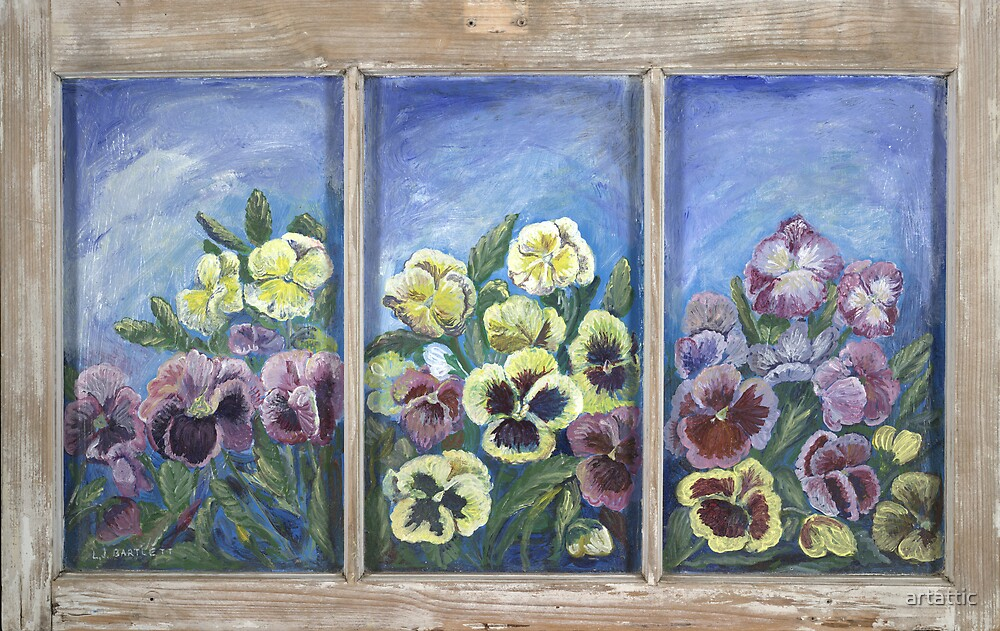 Pansies on Glass Window by artattic
