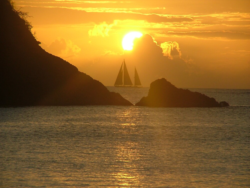 Sunset in St Lucia West Indies by wenleaway