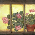 Pink Geraniums on Glass  by artattic